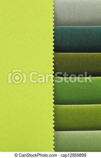 amostras, colora experiência, verde, tons, tecido - csp12959899