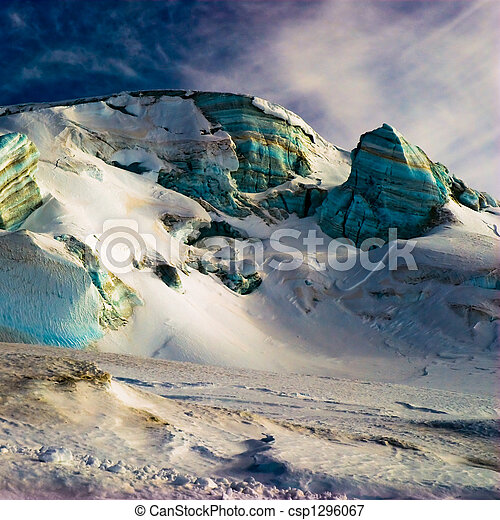 Surreal ice structures in high alps. - csp1296067