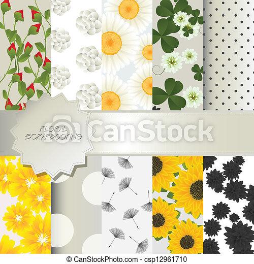 Floral scrapbooking - csp12961710