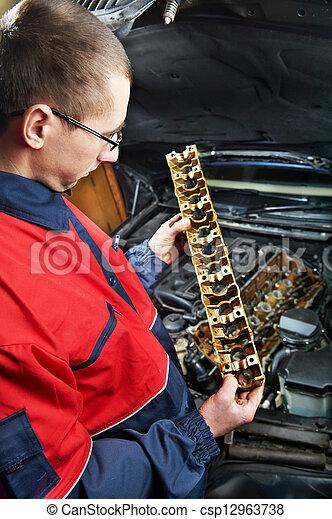 machanic repairman at automobile car engine repair - csp12963738