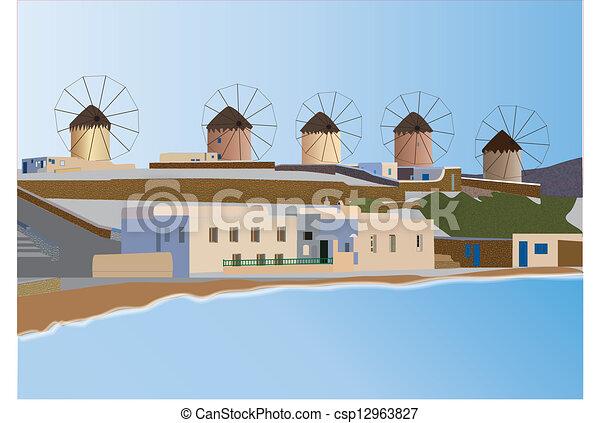 Vector Illustration of Mykonos - Windmills and Seaside Tavernas on the ...