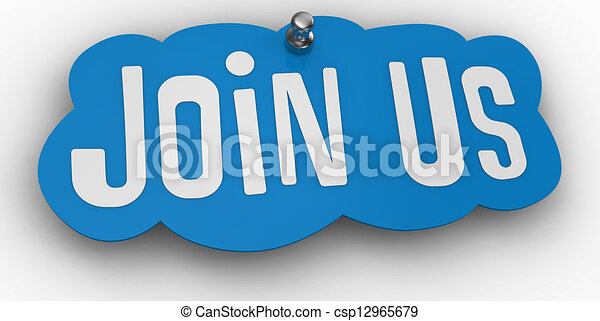 Join us website Pin Sign Word - csp12965679