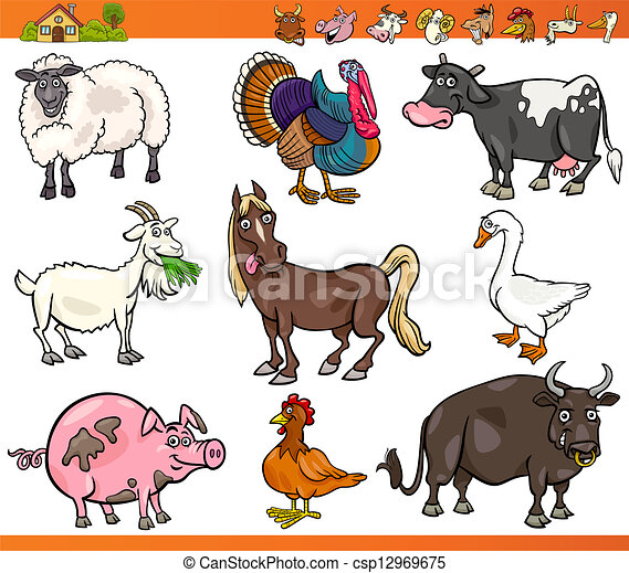 farm animals set cartoon illustration - csp12969675