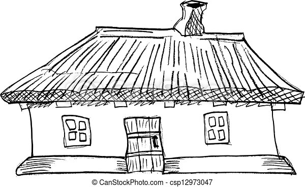 how to draw hut landscape