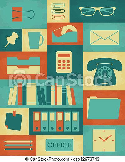 Eps vector de cartel retro oficina retro estilo for Cartel oficina