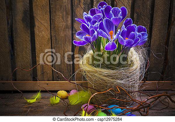 Art Easter Egg basket wooden card crocus spring flower feather - csp12975284