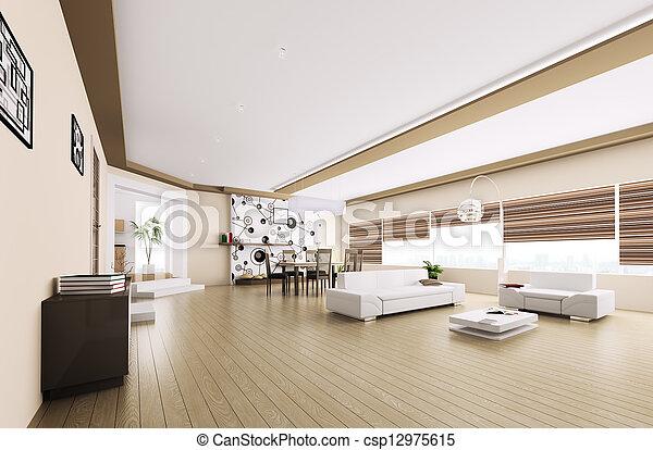 stock fotografie von inneneinrichtung modern wohnung 3d render csp12975615 suchen sie. Black Bedroom Furniture Sets. Home Design Ideas