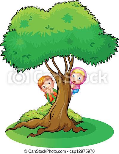 abbildung, von, Kinder, Verstecken, an, der, groß, baum, auf, a ...