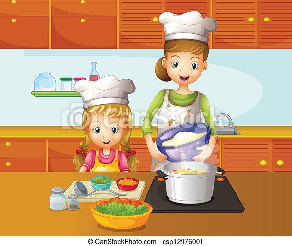 Clipart Vecteur De Cuisine Fille M 232 Re Illustration De