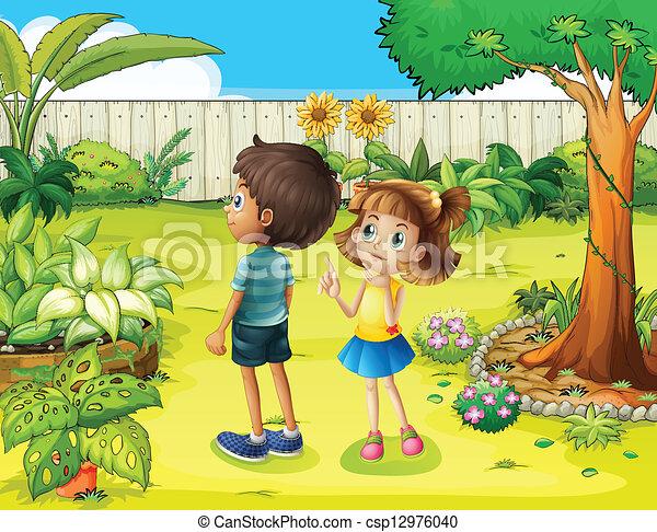 Vecteur eps de gar on girl discuter jardin for Jardin dibujo