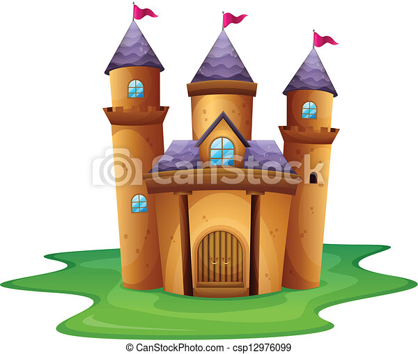 A castle with three flags - csp12976099