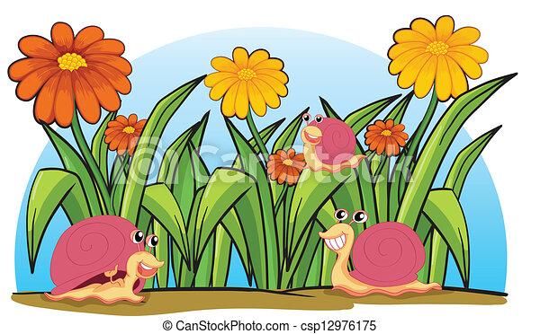Ilustraciones vectoriales de tres caracoles jard n for Dibujos de jardines