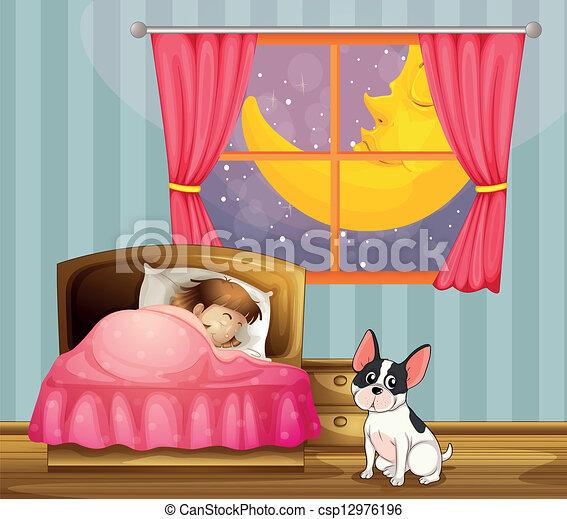 Eps vectores de ni a sue o habitaci n ella perro - Dibujos para habitacion nina ...