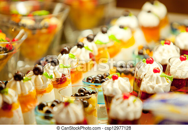 Cream and fruit dessert  - csp12977128