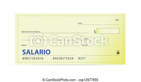Clipart Vector of Salary check in spanish illustration design over ...