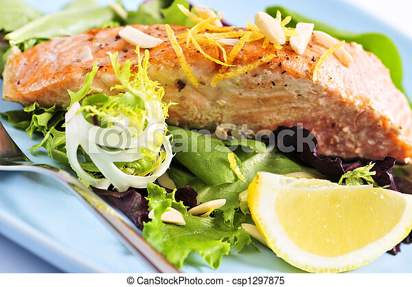 Salad with grilled salmon - csp1297875