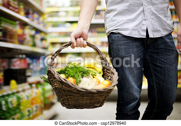Basket filled healthy food - csp12978940
