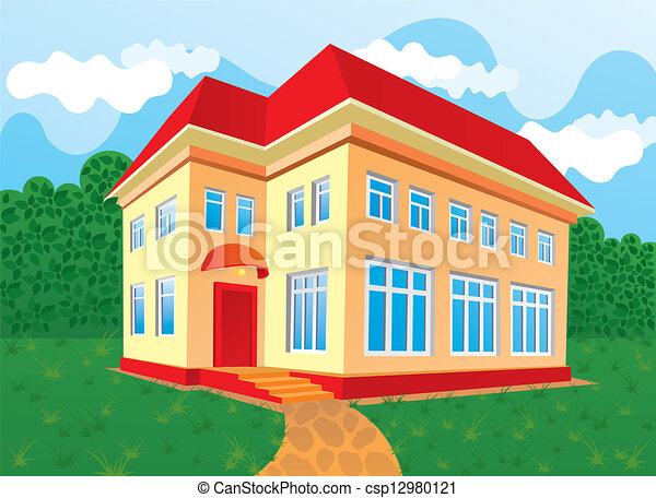Vector illustration of house with red roof modern and for Modern house clipart