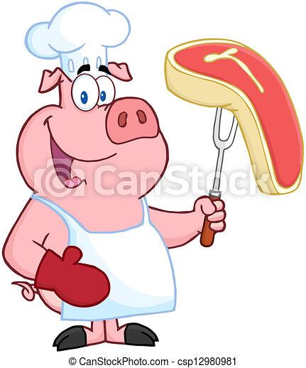Happy Pig Chef  - csp12980981