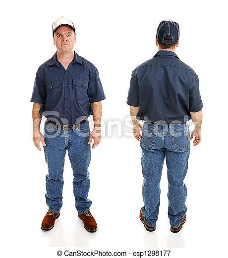 Blue Collar Man Two Views - csp1298177