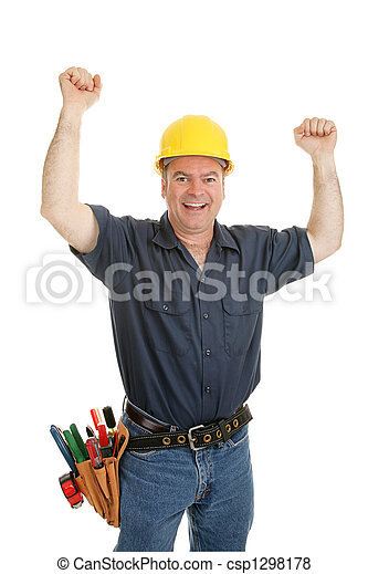 Construction Worker Ecstatic - csp1298178