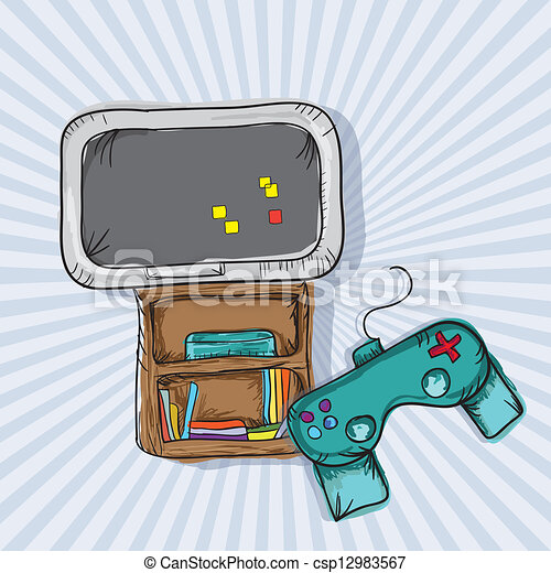 Clip Art Vector of Video Games Icons - I Love Video Games ...