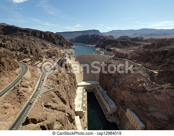 Breath taking Aerial view of the Colorado River, Hoover Dam, and road taken from bypass bridge on the border of Arizona and Nevada, USA. - csp12984019