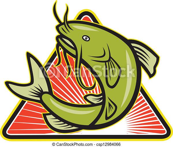 Clip Art Vector of Catfish Fish Jumping Cartoon - Illustration of ...