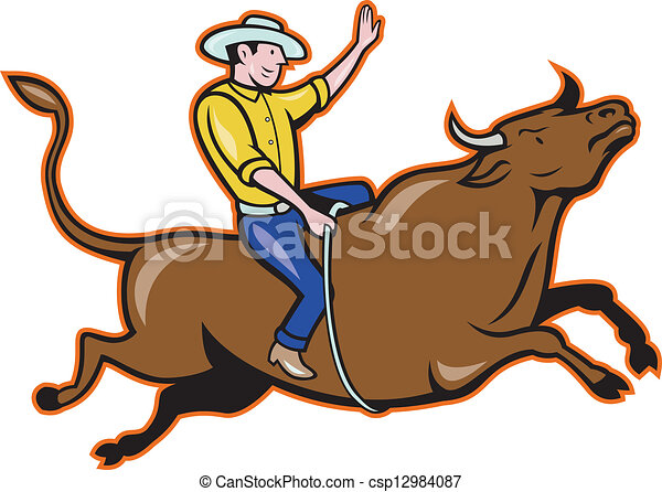 Vector of Rodeo Cowboy Bull Riding Cartoon - Illustration of rodeo ...