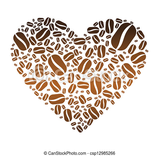 Clip Art Vector of Coffee Bean Heart - One heart made up ...