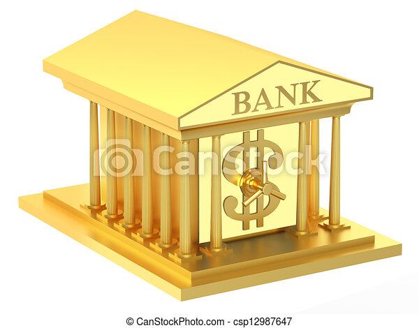 Drawing of Bank building on a white background csp12987647 ...
