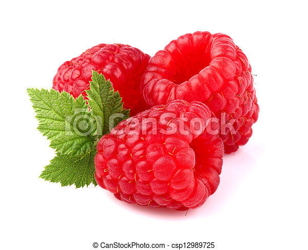 Ripe raspberry with leaf - csp12989725