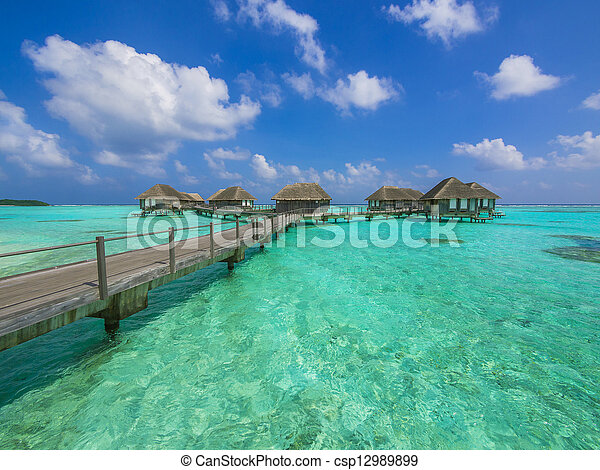 Water bungalows in paradise - csp12989899