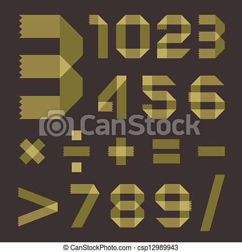 Font from greenish scotch tape - Arabic numerals - csp12989943