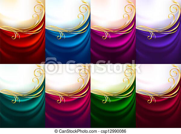 Holiday backdrops - Set colored fabrics - csp12990086