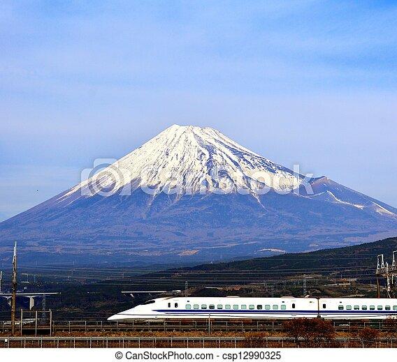 Fuji and Train - csp12990325
