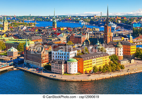 Aerial panorama of Stockholm, Sweden - csp12990619
