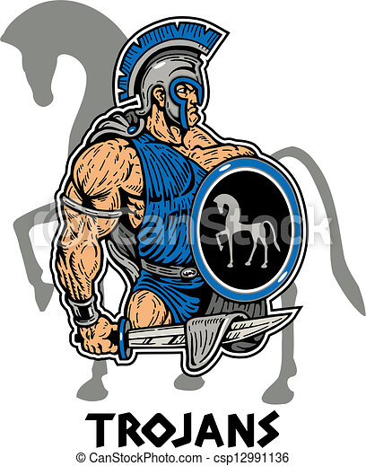 vectors of muscular trojan with sword and shield