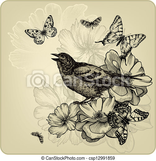 Clipart Vector Of Vintage Background With Birds Roses And
