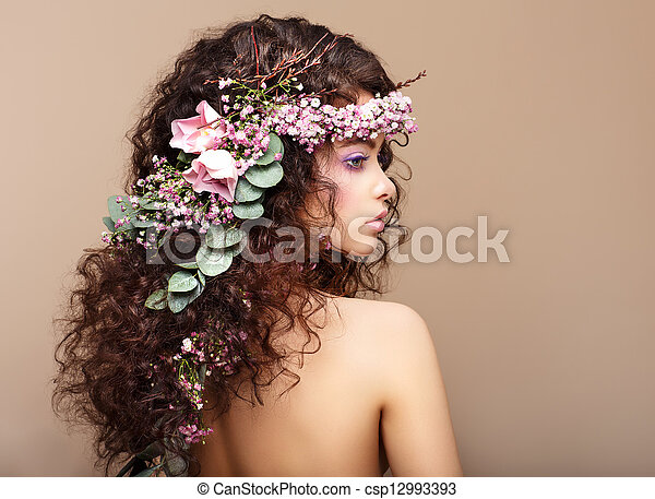 Profile of Woman with Colorful Wreath of Flowers. Valentine's Day - csp12993393