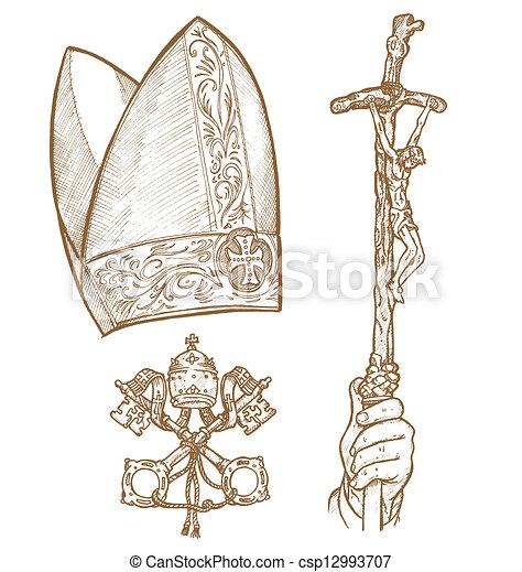 Pope Hat Drawing Vatican Symbols Vatican