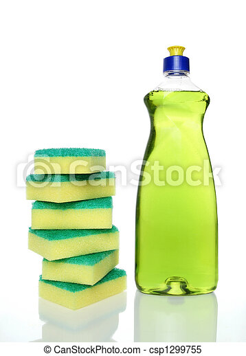 Bottle of green dishwashing liquid and sponges - csp1299755