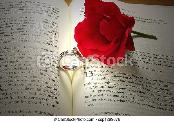Wedding rings on Bible - csp1299876