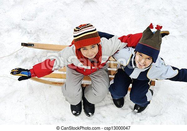 Happy two little boys sitting on sledge - csp13000047