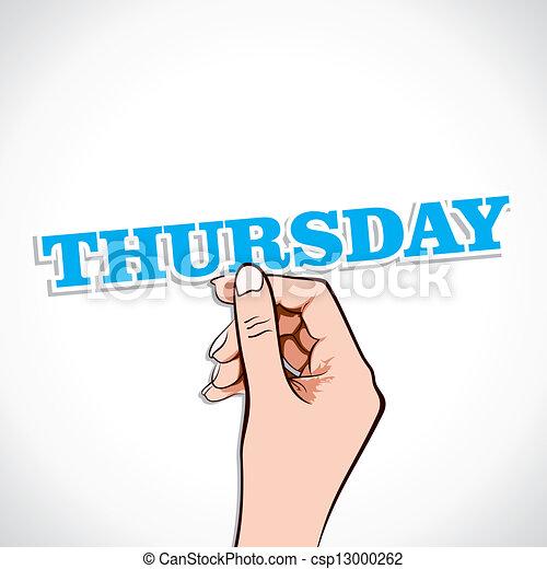 Thursday Word sticker in Hand Stock VectorThursday Word