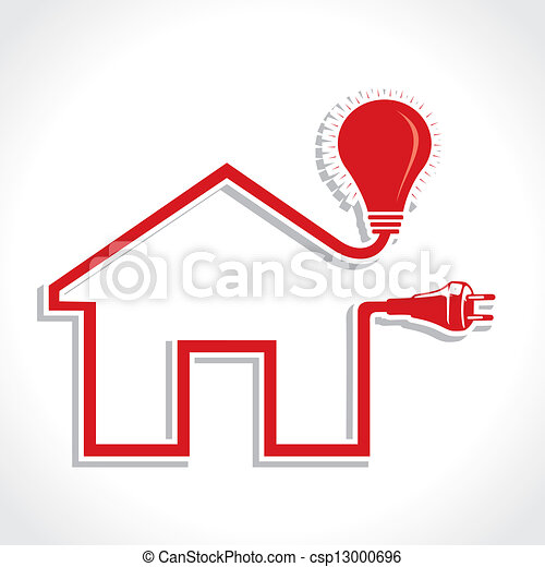 Wired Home Icon with bulb and plug - csp13000696