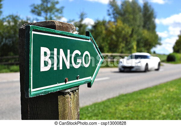 BINGO sign against sportive car on the rural road - csp13000828