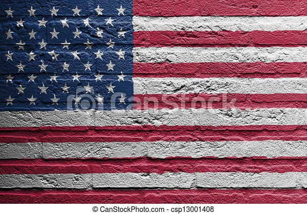 Brick wall with a painting of a flag, USA - csp13001408