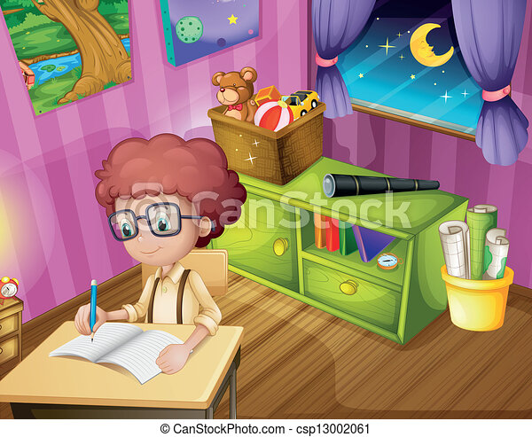 Clip Art Vector Of A Boy Writing Inside His Room