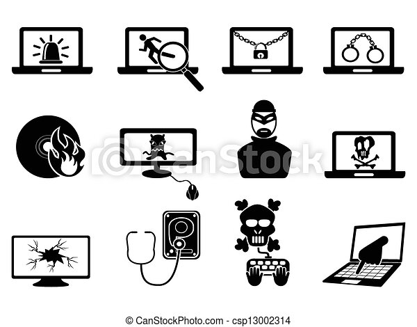 Vector Clip Art Of Computer Security And Cyber Thift Icons